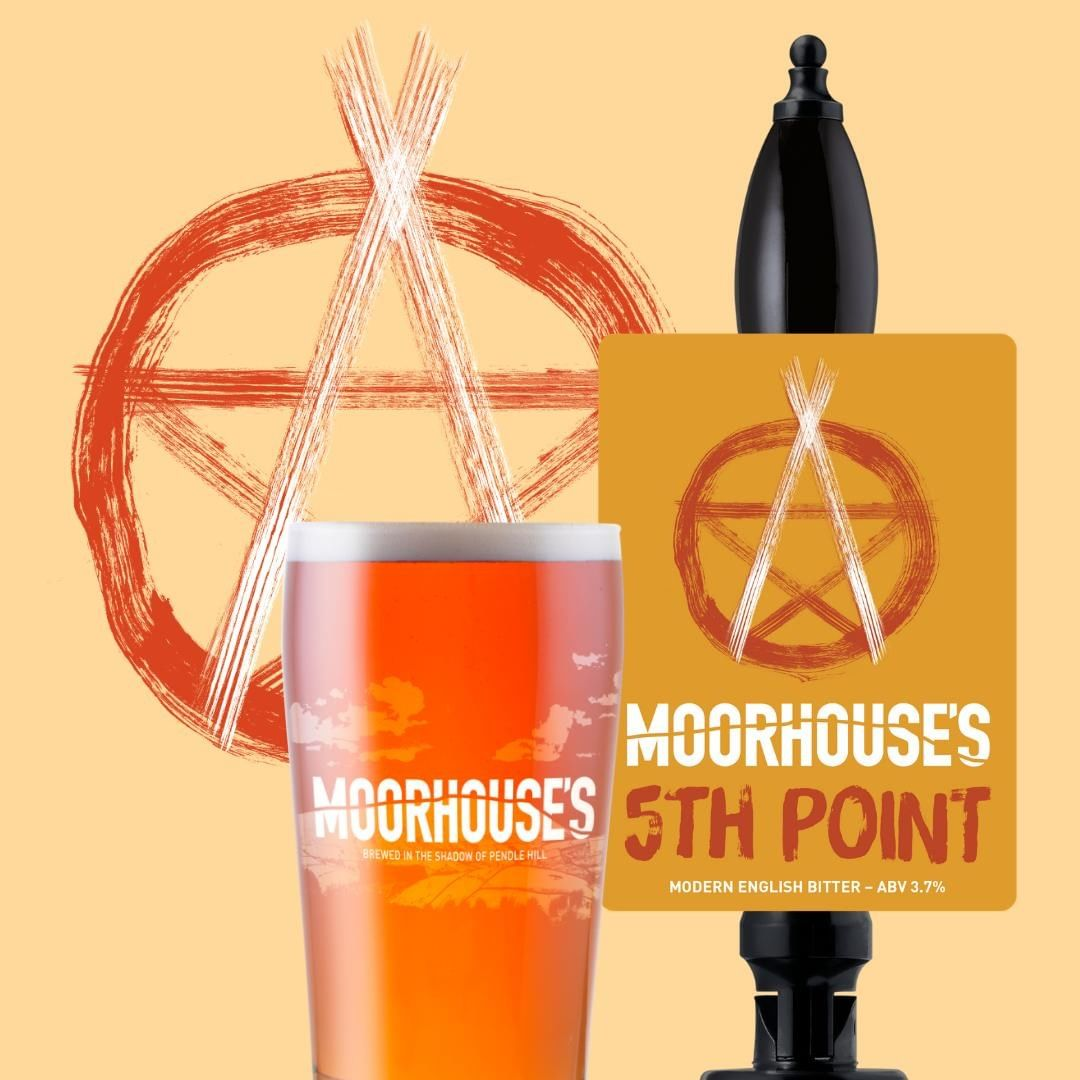 "5TH POINT 3.7% // Our modern spin on a traditional bitter. The Pentacle, the symbol of Witchcraft, is the interconnectivity of all the elements. The ""5th Point"" symbolizes the sanctity of Spirit #availablenow⠀ .⠀ .⠀ .⠀ .⠀ .⠀ #modernenglishbitter #amberale #5thpoint #paganpentacle #witchcraft #mysticalbeers #moorhouses #pendlehill"